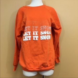 Vintage 80s Orange Let it Snow Graphic Sweatshirt
